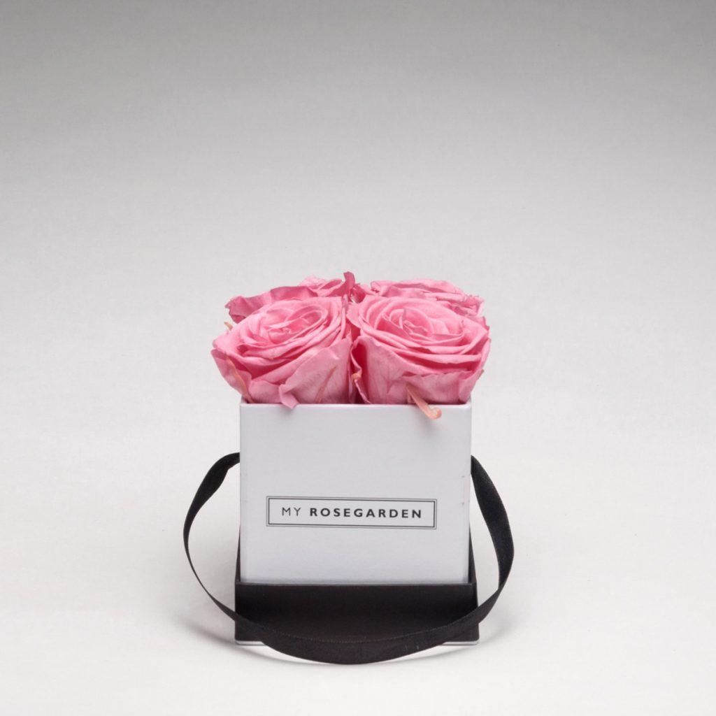 Rosenbox mit 4 Infinity-Rosen – eckig, weiß