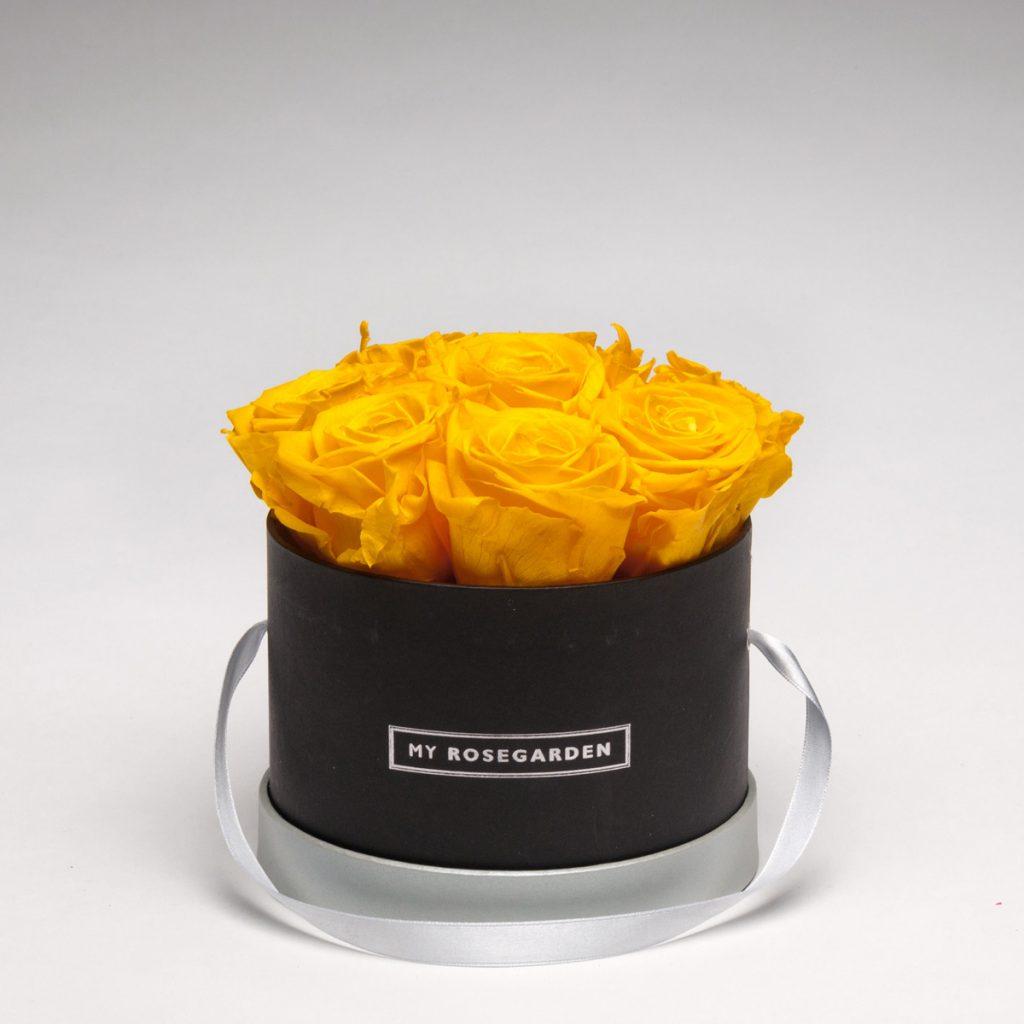Rosenbox mit 8 Infinity-Rosen – rund, schwarz