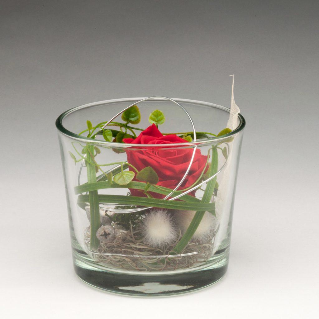 Glaszylinder mit Infinity-Rose groß