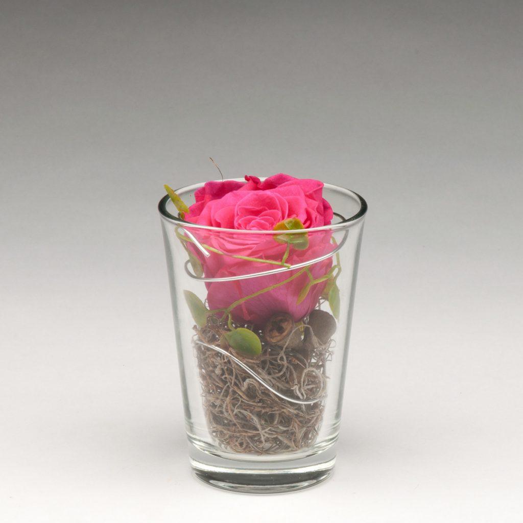 Glaszylinder mit Infinity-Rose klein