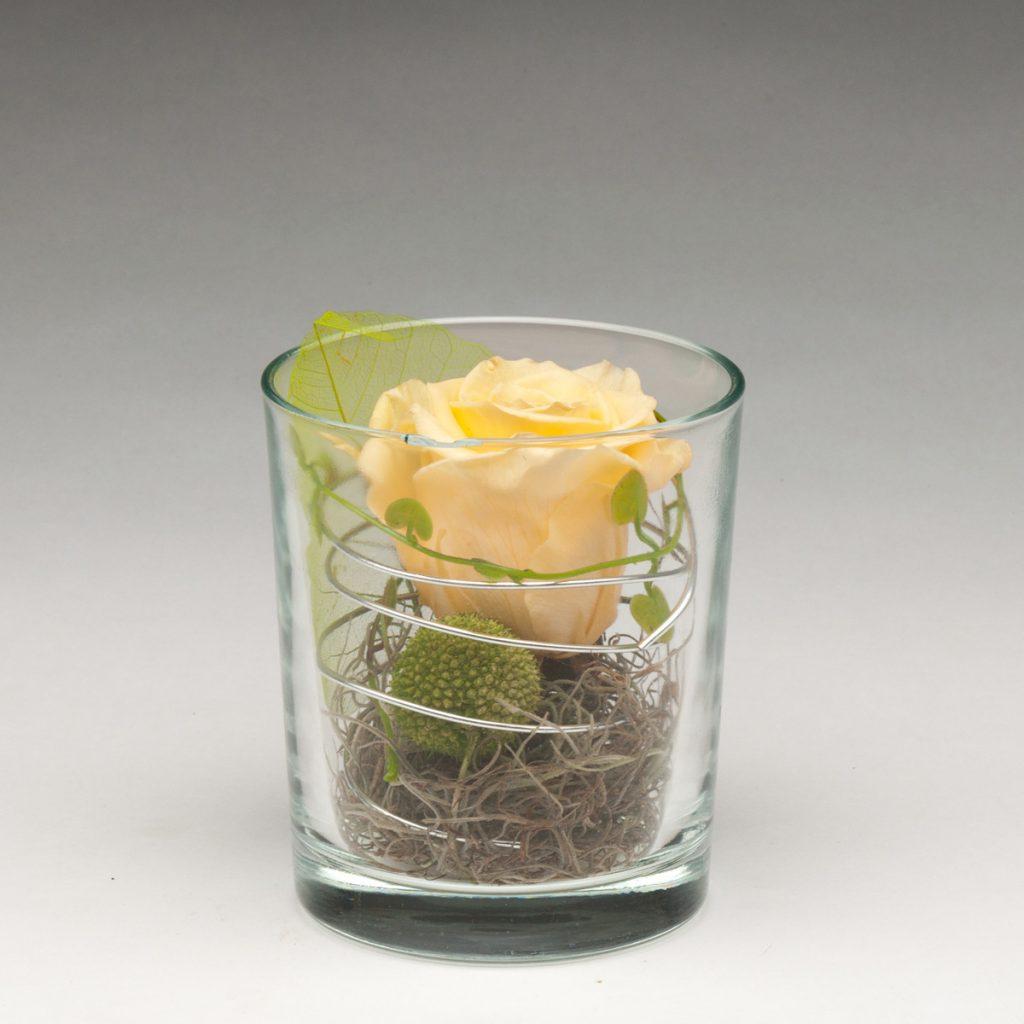 Glaszylinder mit Infinity-Rose mittel